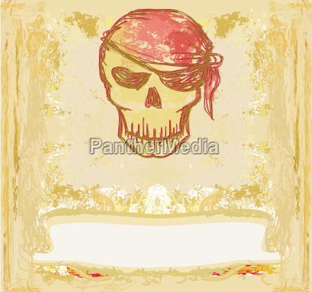 skull pirate retro card
