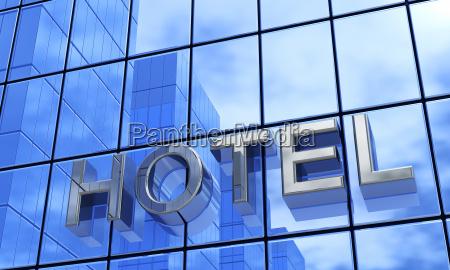 3d hotel facade concept blue silver