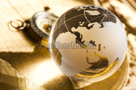 globe with compass