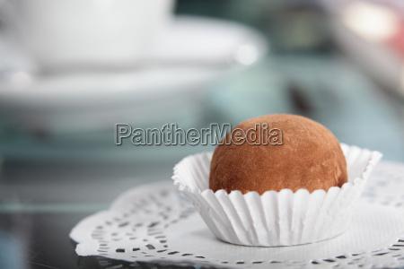sweet truffle on white papper bag
