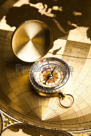 navigation instrument map and compass