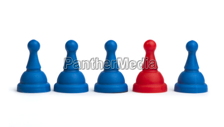 red and blue game pawns white