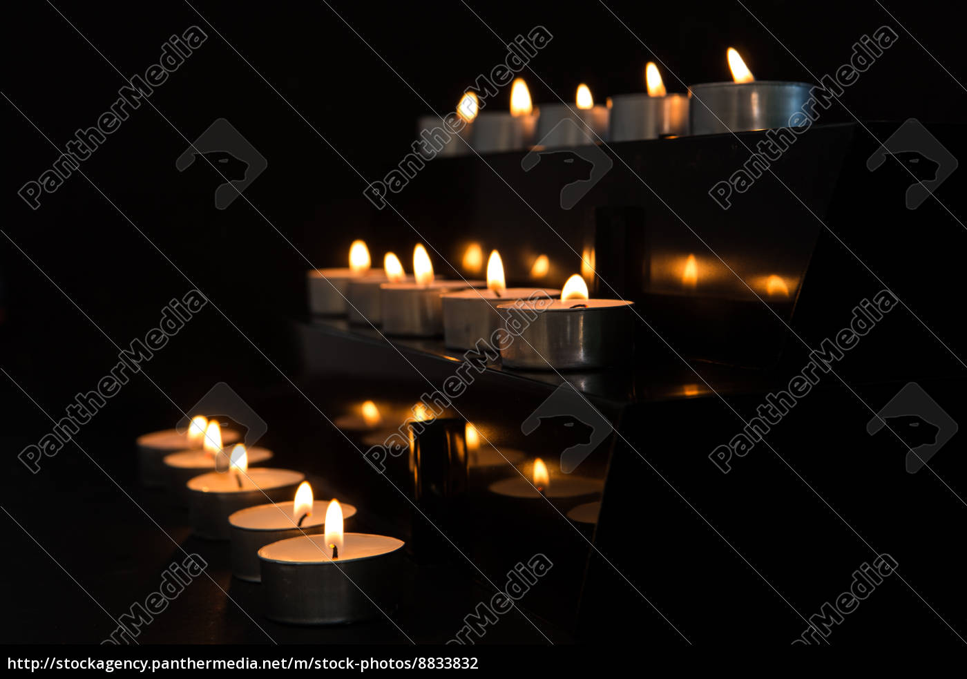 Royalty Free Photo 8833832 Tea Light Candles At The Alter In Darkness