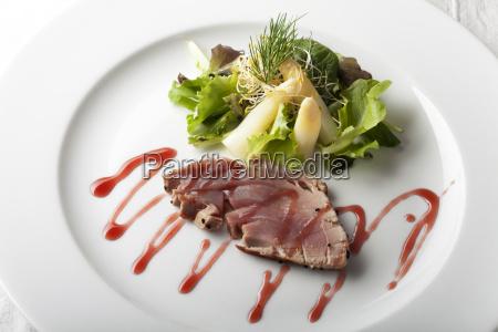 grilled tuna steak on a plate