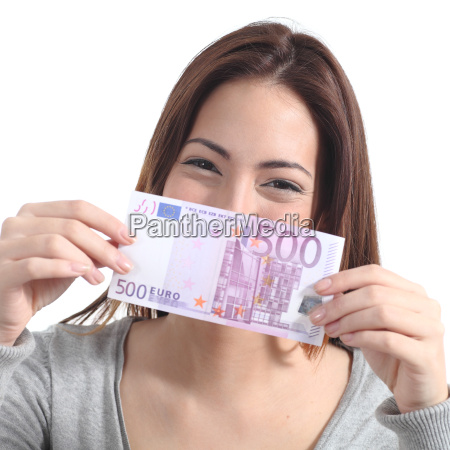 woman showing a five hundred euros