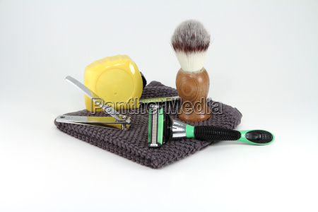 construction worker shaving supplies