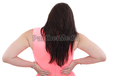 business woman with back pain isolated