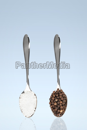 salt and pepper on spoon