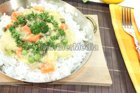 chicken fricassee with rice and mushrooms
