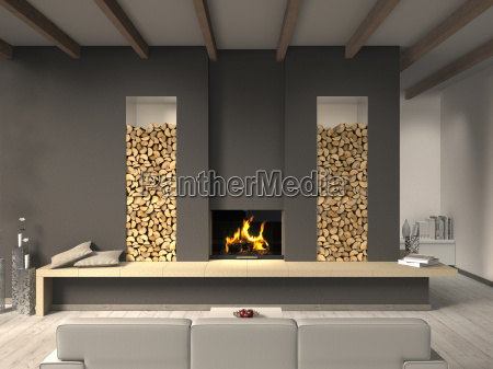 living room with fireplace and beamed