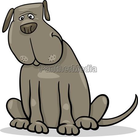 funny big gray dog cartoon illustration