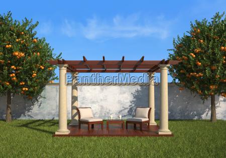 relax in the garden under a