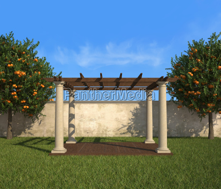 gazebo in a sunny garden
