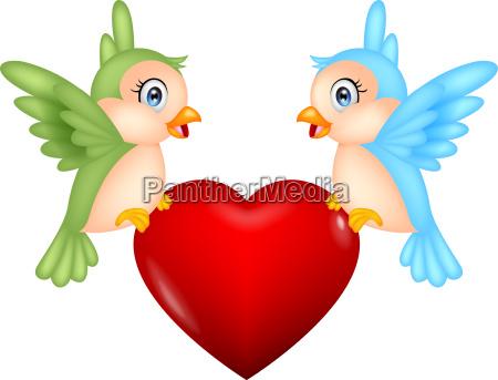bird cartoon with love heart