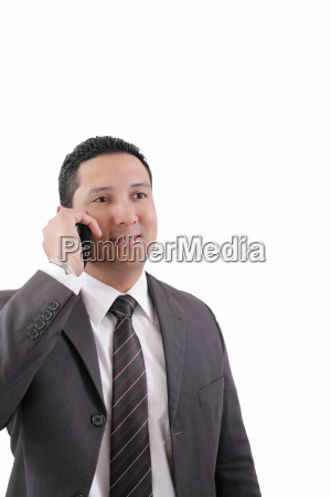 young business man happy speaking mobile