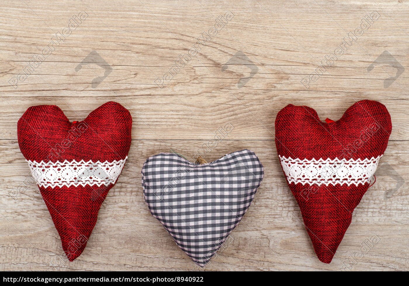 Fabric Hearts On Old Wood Stock Image 8940922 Panthermedia Stock Agency
