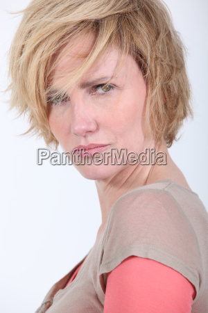 50 years old woman with tousled