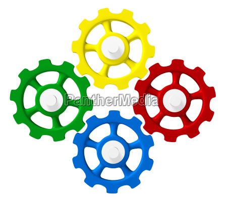 colorful gears green red blue