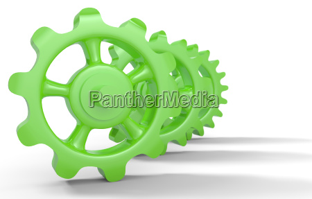 green gears isolated 2