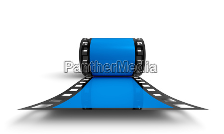 3d film reel blue frontal