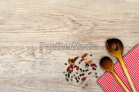 weathered wood with wooden spoon