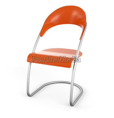 visitors chair orange in 3d