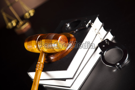 handcuffs legal gavel