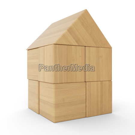 small wooden house from building blocks
