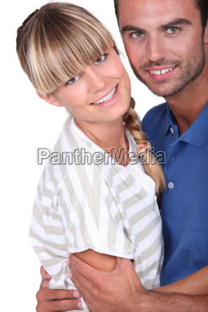 young couple in a playful embrace