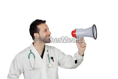 young male doctor holding megaphone