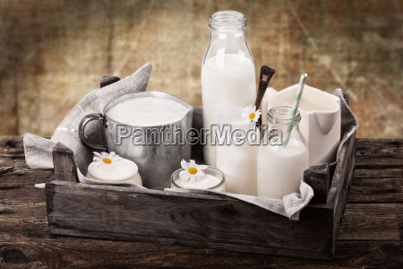 milk with rustic background