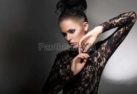 femininity attractive stylized woman in black