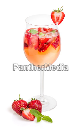 cocktail with strawberries and mint in