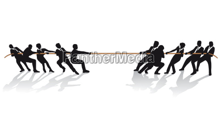 business people in tug of war