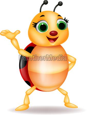 funny ladybug cartoon waving hand
