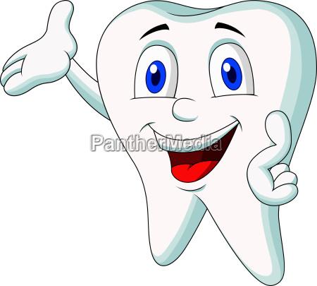 cute tooth cartoon presenting
