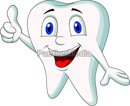 cute tooth cartoon thumb up