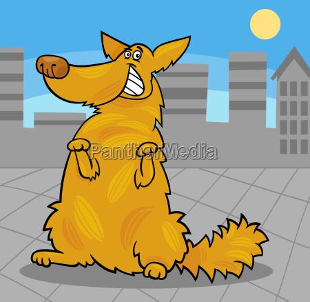 happy yellow shaggy standing dog