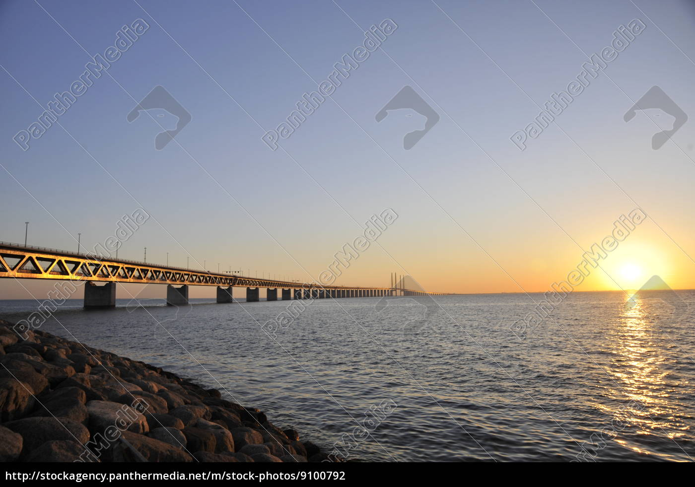 oeresund, sunset, bridge - 9100792