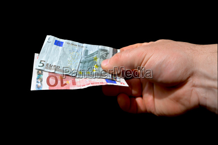 to pay a hand with banknotes