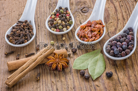various spices in porcelain spoons