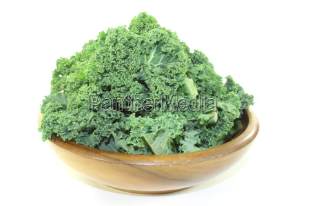kale in a wooden bowl