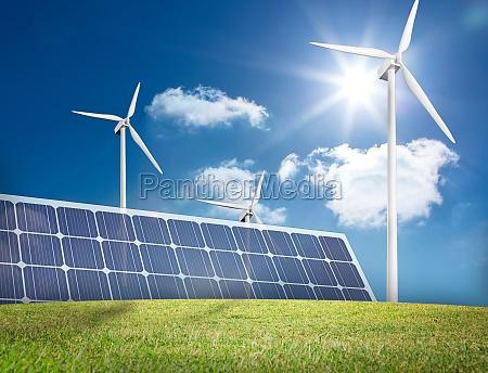 large solar panel and three wind