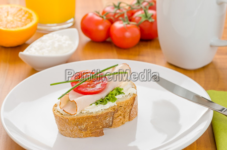 baguette with turkey breast on a