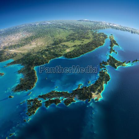 detailed earth japan and korea