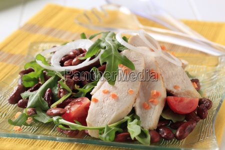 chicken breast fillet with lentil and