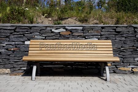bank garden wooden bench in
