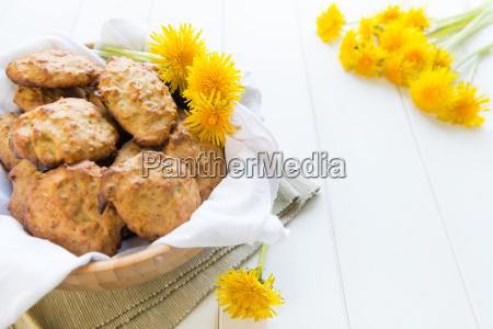 cookies with dandelions flowers