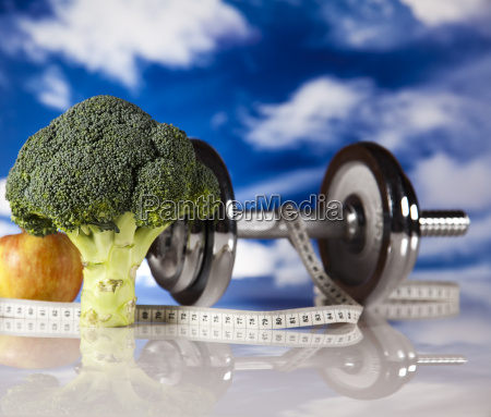 fitness food and blue sky