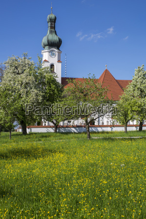 church in upper bavaria with spring
